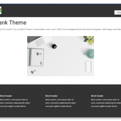 Blank Theme Desktop View
