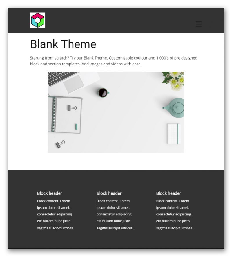 Blank Theme Tablet View